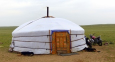 Yurt with a decorated door