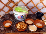 Airag (fermented mare's milk) and curds served by a nomad family in the Gobi, Mongolia